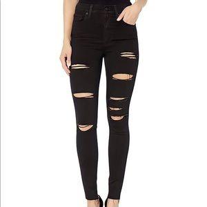 LEVI'S Black Mile High Super Skinny Distress Jeans
